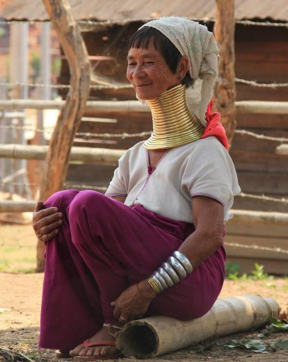 Woman wearing traditional neck rings, Loikaw Myanmar
